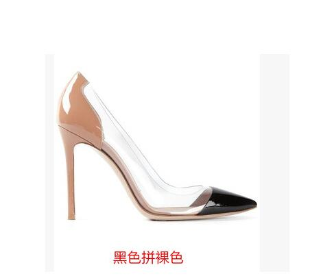 Newest Transparent PVC Patchwork High Heel Shoes Sexy Pointed toe Woman Pumps Slip-on Stiletto Heels Office Lady Dress Shoes apoepo 2018 newest woman stilettos pumps sexy pointed toe slip on dress heels office lady thin heels shoes bling party shoes