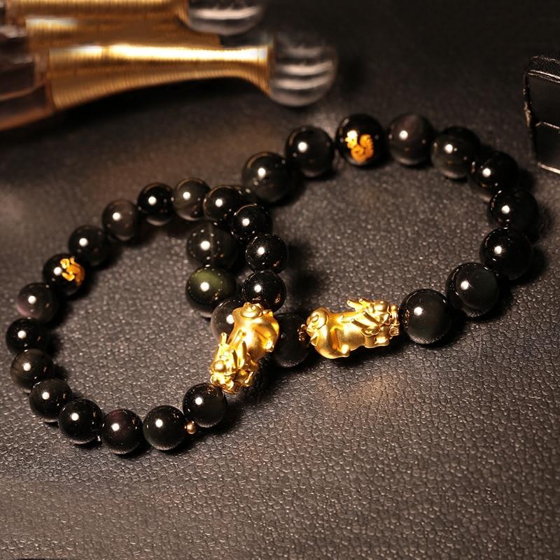 Obsidian Single Rainbow Eye Beads Bracelet Transport New Year Gift Female Models