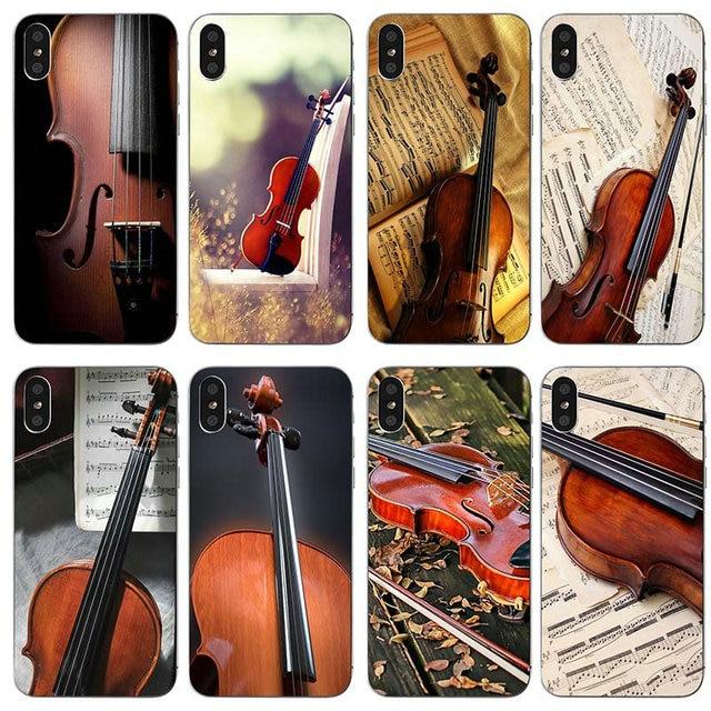 Macio TPU Casos de Telefone Celular para o iphone X XR XS Max 10 7 6 8 6 s Plus 4 4S 5 5S SE 5C Sacos Violino Instrumento Musical Notas do Retrato