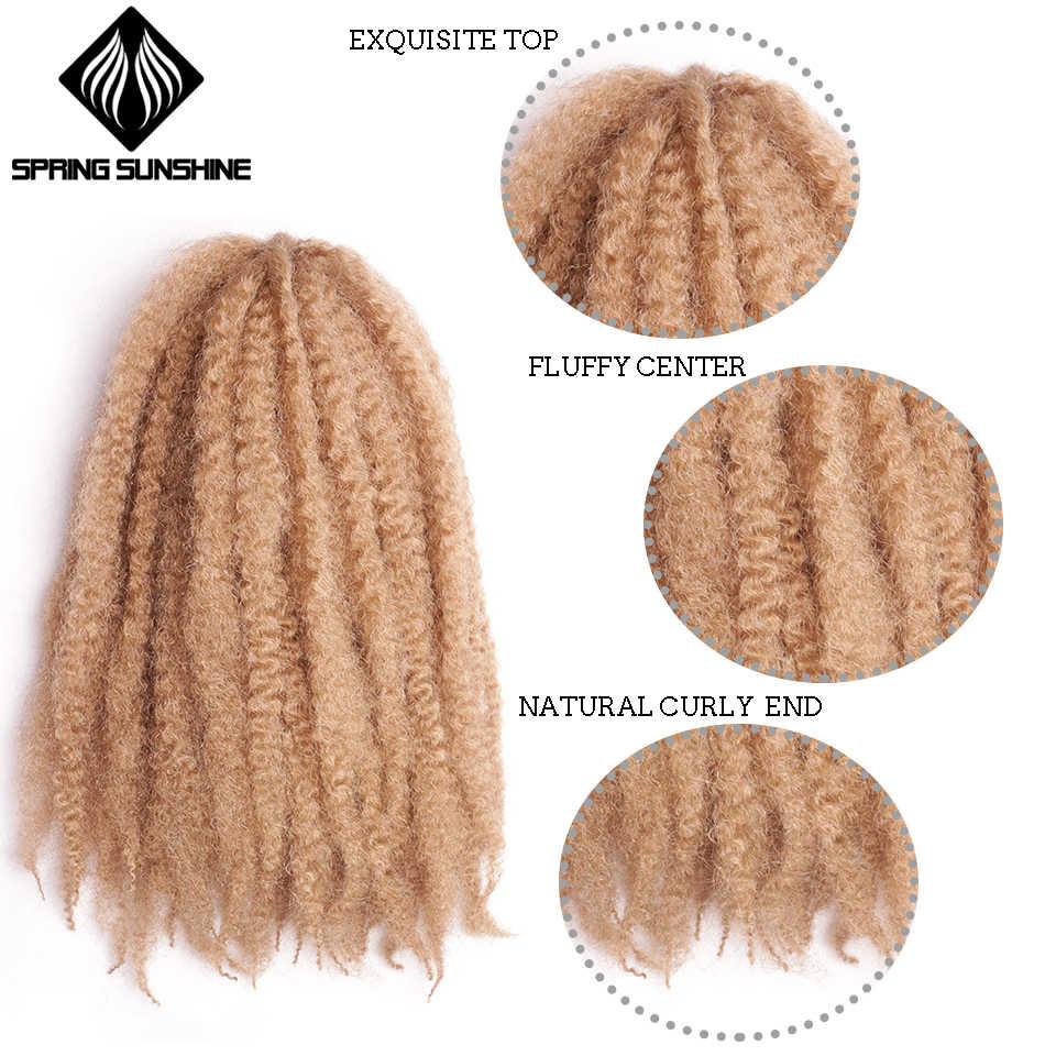"""Primavera sol suave Afro rizado Natural suave Marley extensión de trenzado para trenzas 18 """"100g pelo de trenzas de ganchillo sintético"""
