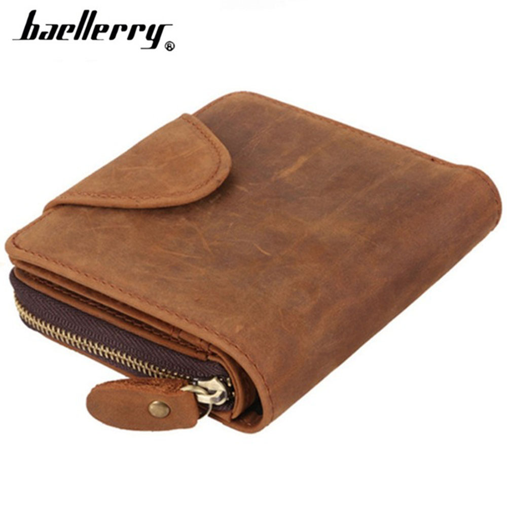 Genuine Cow Leather Men Wallets Crazy Horse Leather Vintage Card Holder Short Design Male Purse Coin Pocket Men's Wallet gzcz genuine leather wallet men zipper design bifold short male clutch with card holder mini coin purse crazy horse portfolio