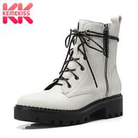 KemeKiss Ankle Boots For Women Real Leather Cross Strap Casual Fall Winter Shoes Women Fashion Zipper Gothic Booties Size 34 40