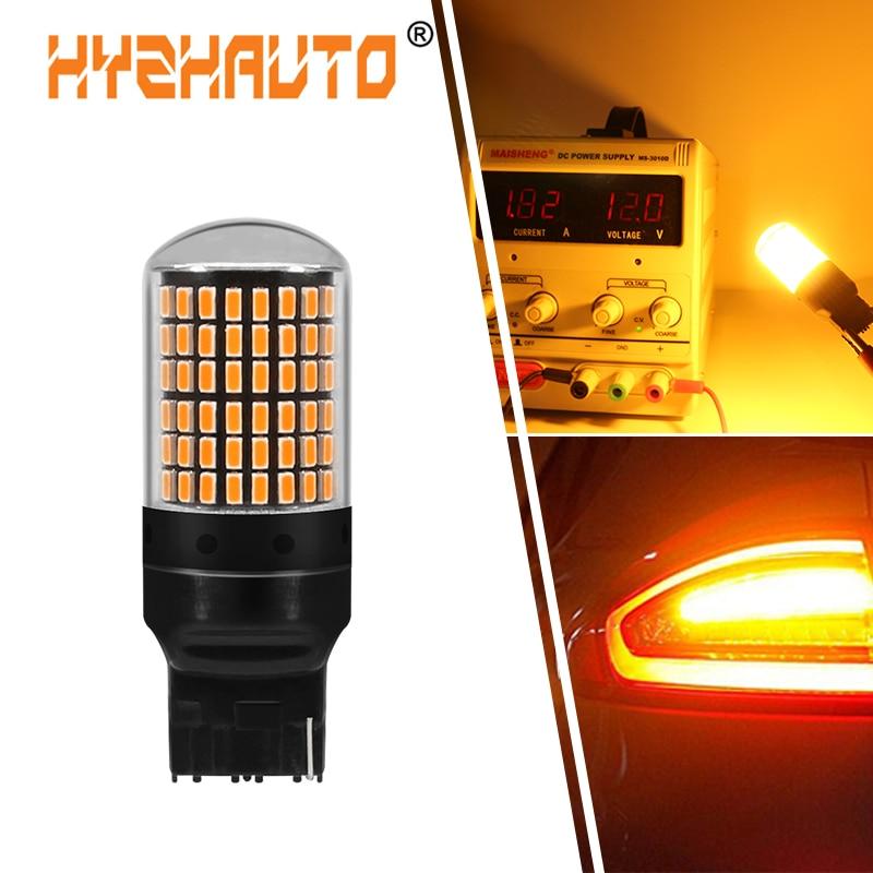 HYZHAUTO 1 шт. T20 7440 W21W светодиодные лампы 3014 144smd 1156 BA15S P21w Py21W светодиодные Canbus огни для указателей поворота без вспышки 12-24 В