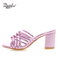 Daitifen Summer Outside Shoes Women Slip On Ladies High Heels Slippers Bling Block Heel Girl S
