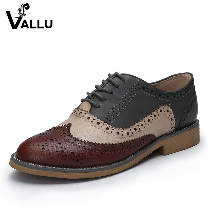 Cuero Genuino Zapatos de Mujer Brogues Oxfords Planas de los Talones de Punta R