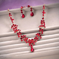 2015 New Gold Plated Tassel Water Drop Bridal Jewelry Set Red Crystal Necklace Earring Set Wedding Party Women Dress
