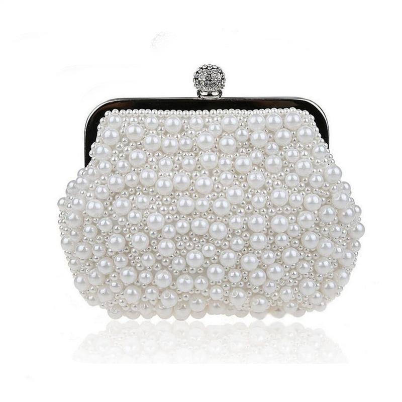 Pearls Clutch Bag White Evening Bags Wedding Bride Purse Chains Women Handbag Beaded Party Purse Dress Day Clutch
