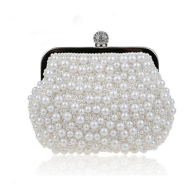 Pearls Clutch Bag White Evening Bags Wedding Bride Purse Chains Women Handbag Beaded Party Purse Dress Day Clutch