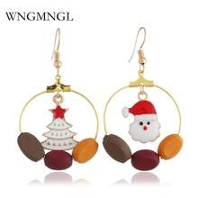 WNGMNGL 2018 New Fashion Santa Claus Christmas Tree Wood Hollow Round long drop Earrings For Women Part Christmas Jewelry Gift christmas tree drop earrings