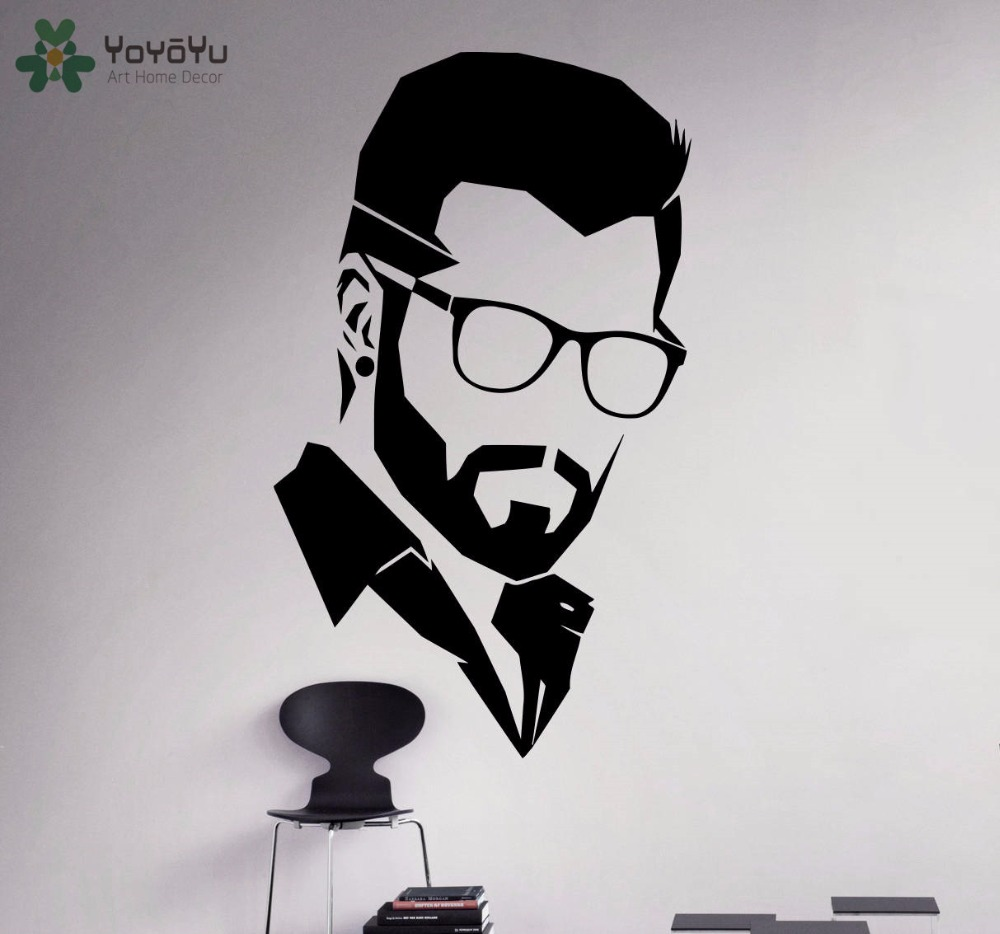 YOYOYU Wall Decal Modern Man Salon Vinyl Wall Stickers Barbershop Window Decals Hair Style Fashion Home Decor Removable ArtSY631