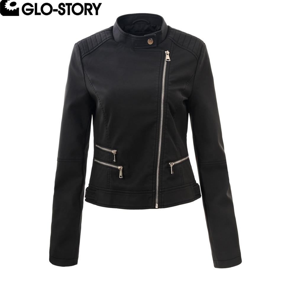 GLO-STORY Women 2018 Mandarin Collar Black Faux Leather Moto Biker Jacket Coat Womens Leather Jackets WPY-3959