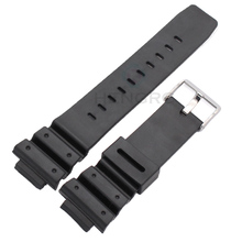 лучшая цена 16mm Rubber Watchbands Men Black Sports Diving Silicone Watch Strap Band Metal Buckle Accessories For Casio 9052 Series