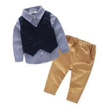 New Autumn 2016 Casual 3piece suit for boys clothes plaid font b shirt b font children