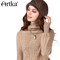 Artka Women S Autumn Winter Vintage Heaps Collar Long Sleeve Cable Knitting All Match Soft Cashmere