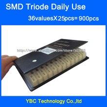 Ежедневное использование SMD транзистор образец книги 36valuesx25pc = 900 шт Триод Ассорти Комплект S9012 SS8050 BAV70 2N5551 SI2300 BAT54A TL431 и т. Д