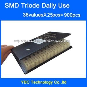 Image 1 - Набор для выборки SMD транзисторов для ежедневного использования, 36 ценностей, 25 шт. = 900 шт. триодов, разные комплекты, S9012 SS8050, bab70 2N5551, SI2300, BAT54A, TL431 и т. д.