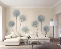 Beibehang Wallpaper Modern Simple Dandelion Nordic Style 3D Living Room Interior TV Wall Decoration 3D Wallpaper