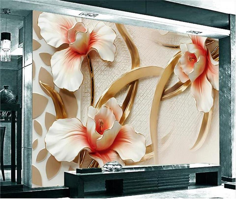 где купить 3d wallpaper photo wallpaper custom mural living room wood carving orchid flower 3d painting sofa TV background wall sticker по лучшей цене