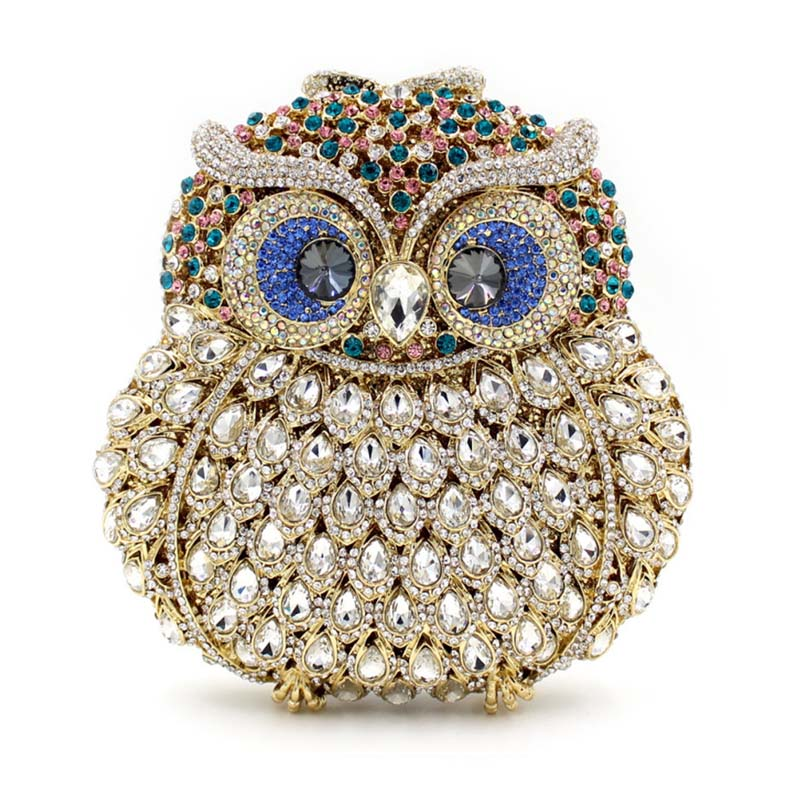 Luxury Brand Women Evening Bags Ladies Owl Shape Handmade Crystal Rhinestone Clutch Bag Female Gold Sliver Color Party Clutches in vitro activities of asparagus racemosus root extracts