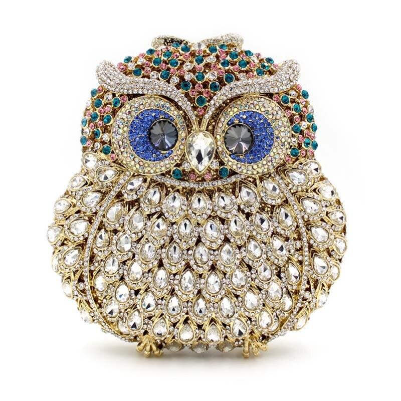 Marca de lujo Mujeres Crystal Rhinestone Bolso de Embrague Noche Bolsos de Las S