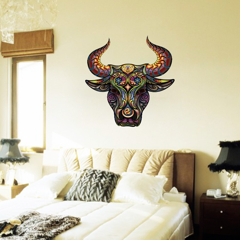 The Head of Flower Bull Wall Sticker for Living Room Accessories Hoopman Decal Removable Vinyl Murals Home Decor Kids Room Decal