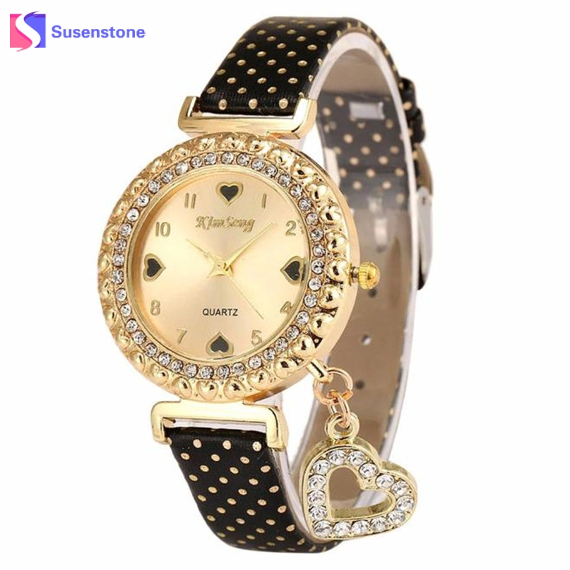 Fashion Women Watch Crystal Love Heart Faux Leather Analog Quartz Watch Casual Ladies Bracelet Dress Watches Relogio free shipping kezzi women s ladies watch k840 quartz analog ceramic dress wristwatches gifts bracelet casual waterproof relogio