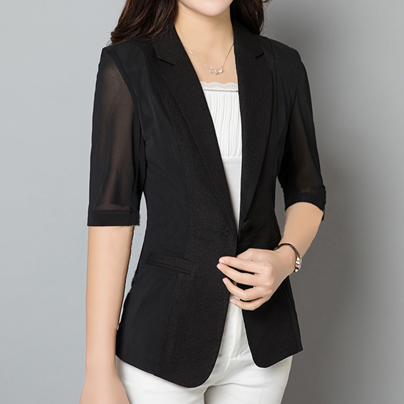 Thin Mesh Summer Blazer Patchwork Casual Blazer cotton linen Formal Women office lady half sleeve small suit plus size 4XL