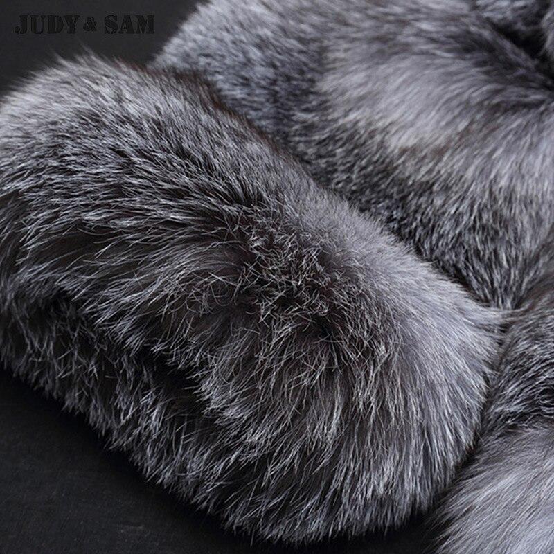 D'hiver Femmes Luxe Fox Blue Réel Manteau De Top Fourrure 2017 Classique Silver Veste Color Style Élégante Dame pWnCxRW