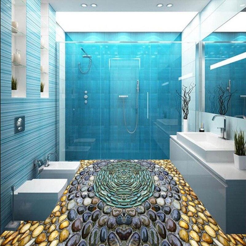 beibehang Custom Large Mural Floor Lamp Modern Painting Modern Art Cobblestone Flower Balcony Kitchen Toilet Floor Wall