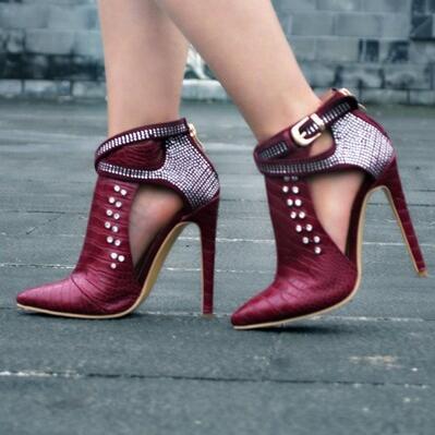 2017 Picture noir Chaud Mince rouge Pompes Taille La Découpe 47 Parti Bout Talons Strass Le Chaussures Sexy Plus argent Femmes Pointu Rouge ruban As rnqrw1YBE