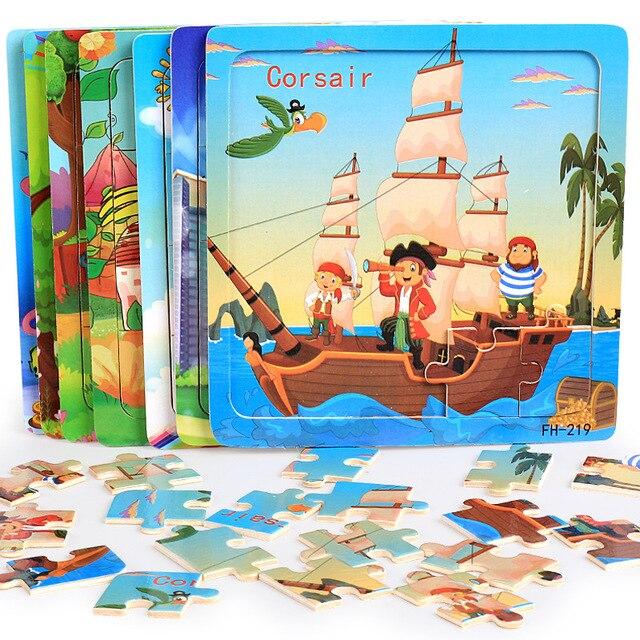 20 pçs quebra cabeças de madeira brinquedos crianças 3d dos desenhos animados animais puzzle brinquedo da criança de alta qualidade madeira interessante brinquedos educativos para presentes do bebê