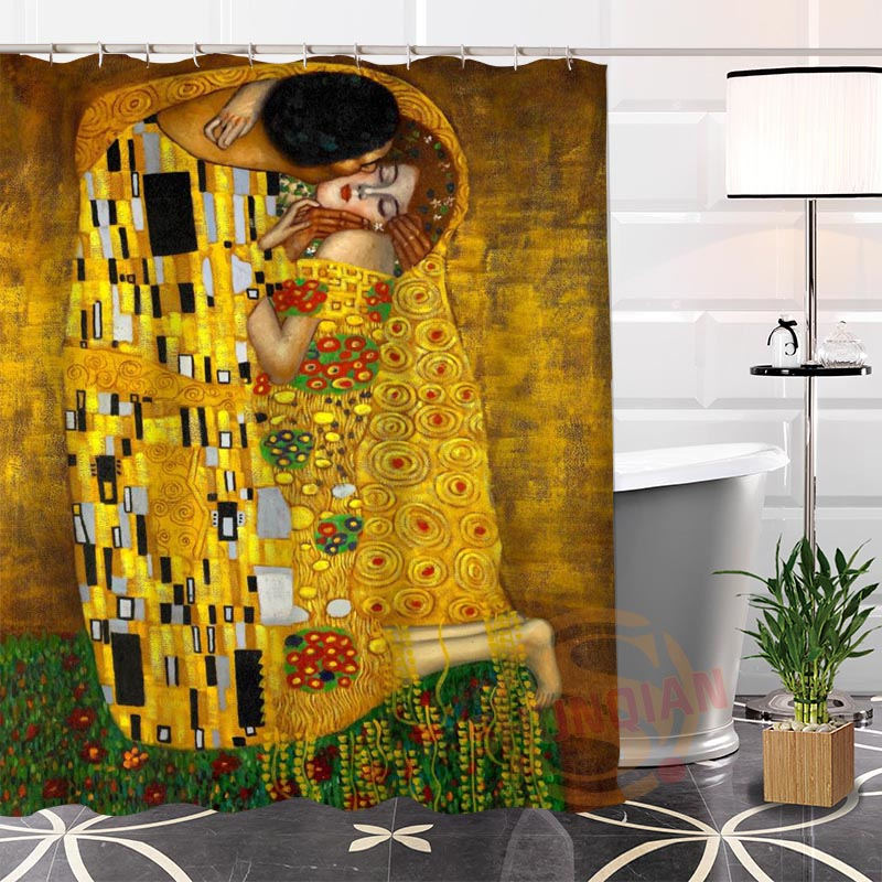 Eco-friendly Custom Unique Klimt Famous Paintings Fabric Modern Shower Curtain bathroom With Hooks for yourself H0220-37