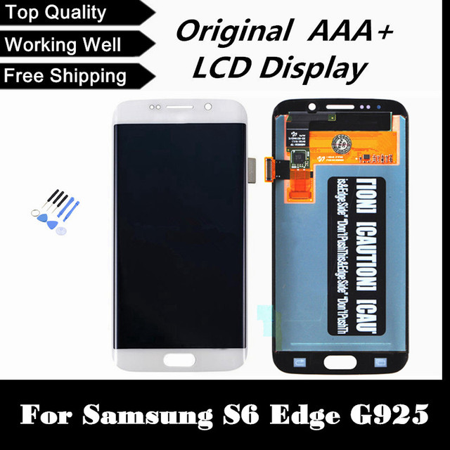 Frete grátis + rastreamento no. 100% teste original para samsung galaxy s6 edge g925f lcd digitador assembléia-azul escuro/branco/ouro