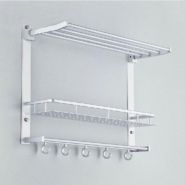 Bathroom Shelves Metal Chrome Movable Shower Shelf Bath Rack With Hooks  Towel Hanger Shampoo Storage Holder Bath Wall Shelf 7842