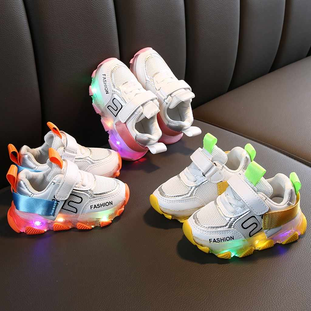 Baby LED Lighr Sport Running Shoes Children Kid Baby Girls Boys Letter Led Luminous Run Sneakers High Quality Casual Shoes