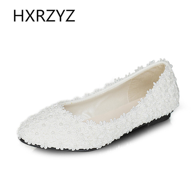 Women shoes new handmade lady pearl white lace flowers wedding shoes spring and fall flat Fashion sexy comfortable bridal shoes