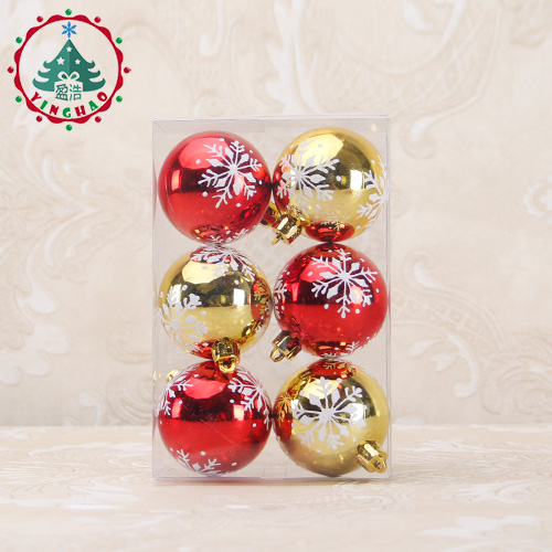 6pcs snowflake color drawing decorations ball tree hanging baubles christmas tree decoration 6cm christmas balls wedding decor in ball ornaments from home - Christmas Ball Decorations
