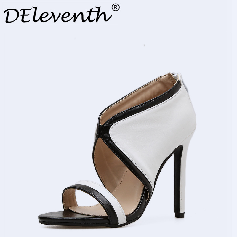 DEleventh 2018 PU Leather Stiletto High Heels Shoes Woman Office Party Dress Gladiatoe Sandals Women Zipper Summer BlackWhite 40