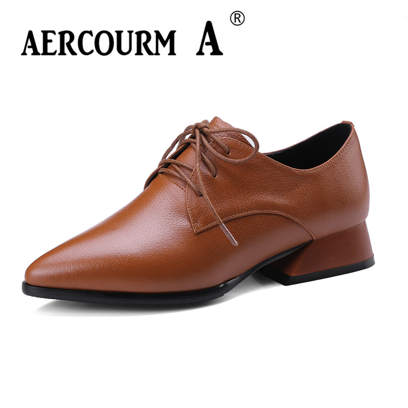 Aercourm A Fashion Spring Autumn Women Pumps Square Toe Lace Up Genuine Leather Shoes Square Heel Black Brown High Heels Shoes aercourm a women black pumps 2018 spring high heels shoes woman shoes genuine leather square head rivet pointed shoes dtn8 1