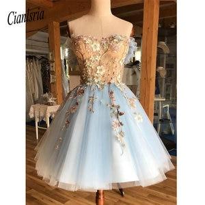 Image 1 - A Line Off die Schulter Über Knie Licht Blau Homecoming Prom Kleid mit Appliques