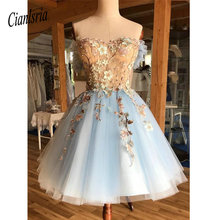 A Line Off the Shoulder Above Knee Light Blue Homecoming Prom Dress with Appliques