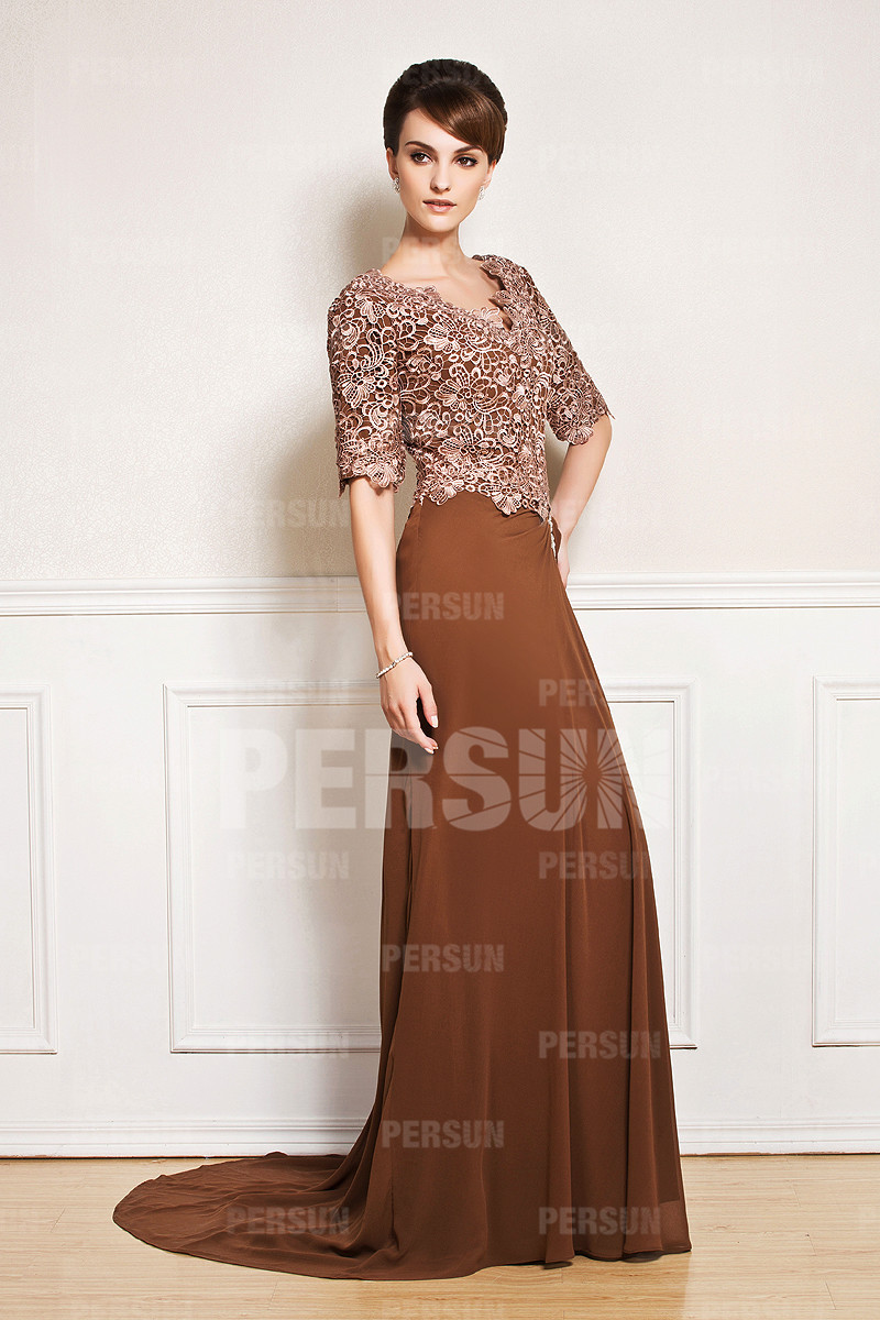 2017 New Half Sleeve V Neck Brown Wedding Guest Dress With Lace Bodice Sweep Train Long Monther Of The Bridesmaid In Mother Bride Dresses