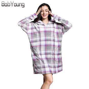 233ade1ba16 BabYoung Winter Pajamas Women Robes Plaid Flannel Long Sleeve Bath Robe  Hoodies Homewear Warm Female