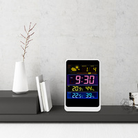 Wireless Weather Station Colorful LCD Digital Thermometer In/Outdoor Temperature Controller Humidity Meter Alarm Clock