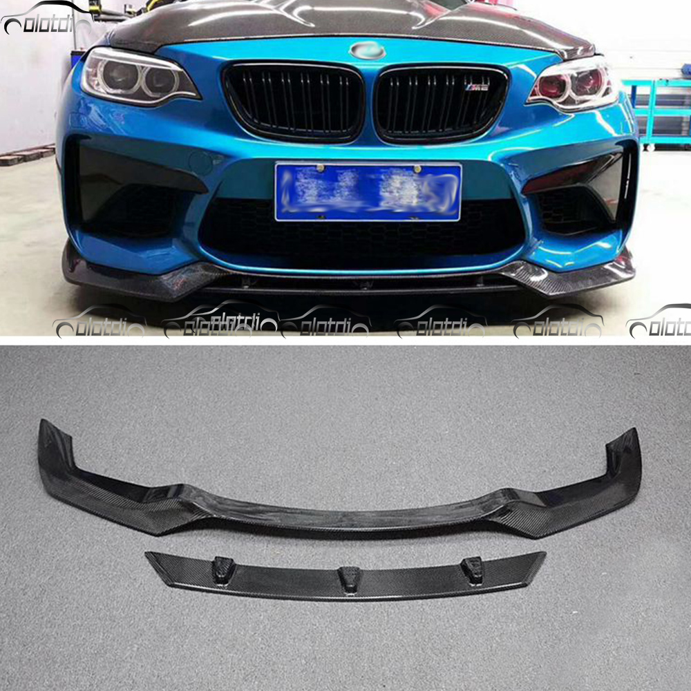 for BMW F87 M2 Base Coupe 2 Door 2016-2017 Car Styling Carbon Fiber V Sytle Front Bumper Lip Chin Protector carbon fibre front bumper lip chin for audi tt 8j mk2 convertible coupe 2 door 2008 2009 car styling