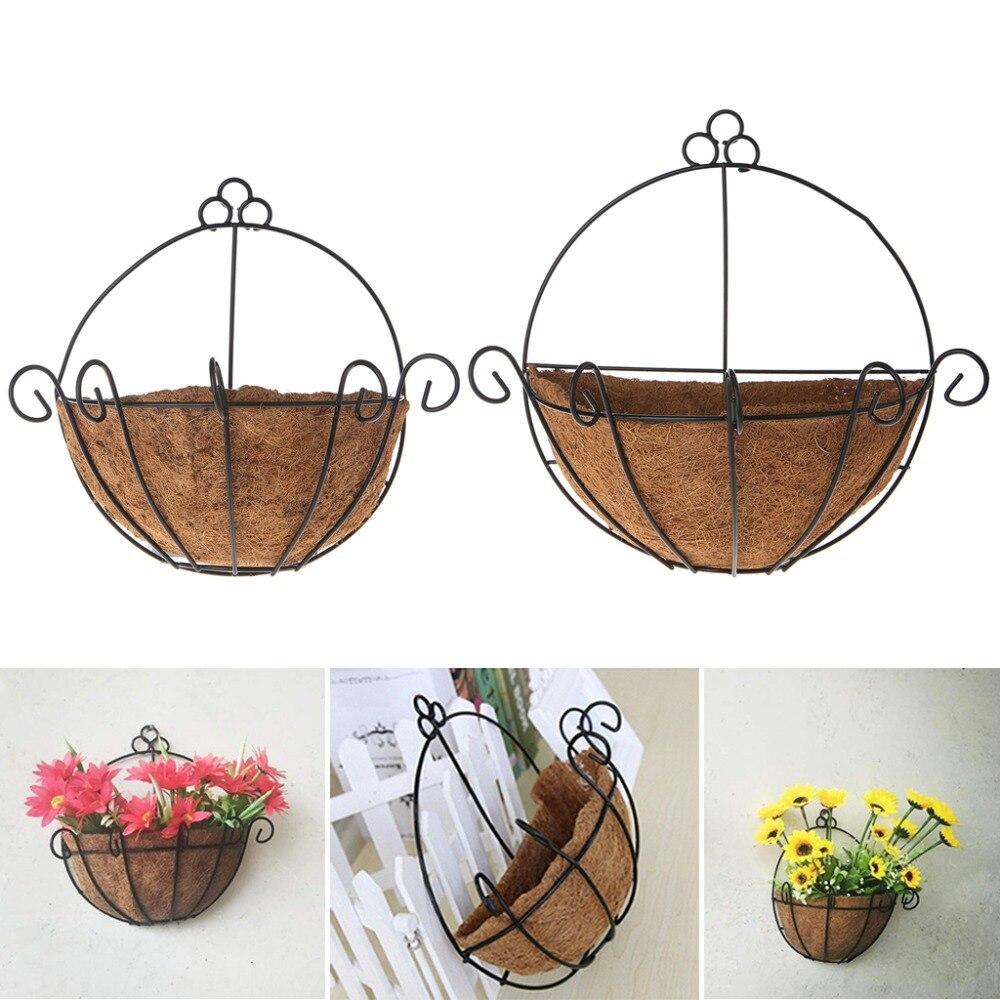 OOTDTY Classic Flowerpot Iron Coconut DIY Garden Hanging Planters Wall Baskets Pot Half Round 25cm 30cm