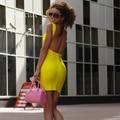 Бесплатная Доставка!! большая Распродажа Сексуальная Мини Спинки Bodycon Клуб Повязки Dress Multi Имеющийся Цвет