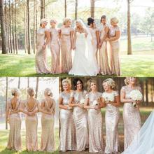Champagne Gold Long Bridesmaid Dresses Sequined Short Sleeve Floor Length Bridesmaid Dress 2016 Prom Dress Wedding Party Dresses