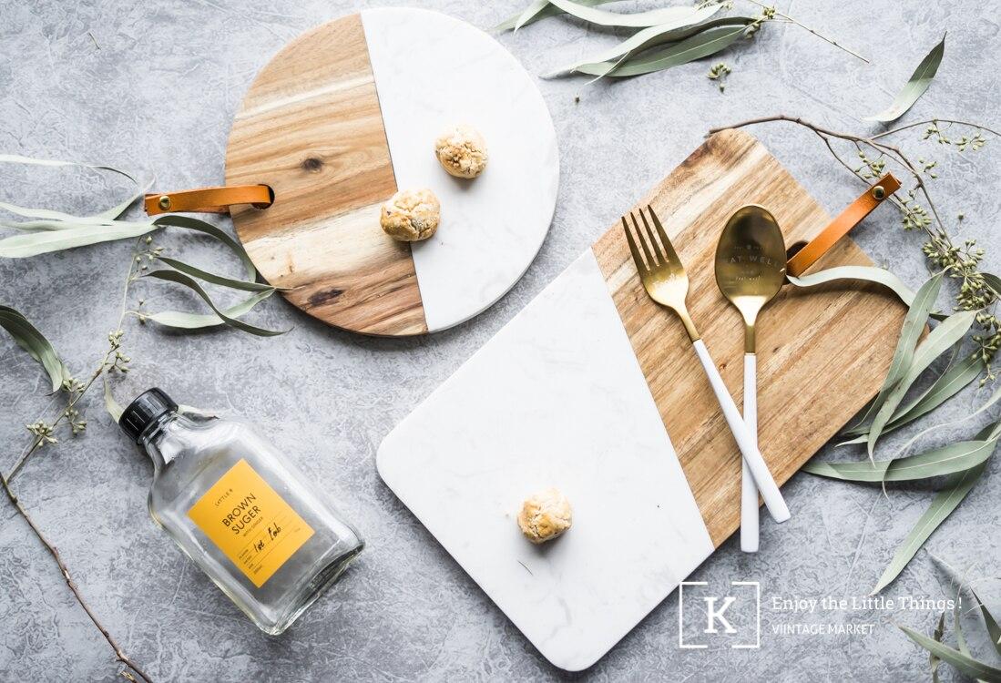 Bread Plate Marble Chopping Board Walnut Splicing Western Dish Tray