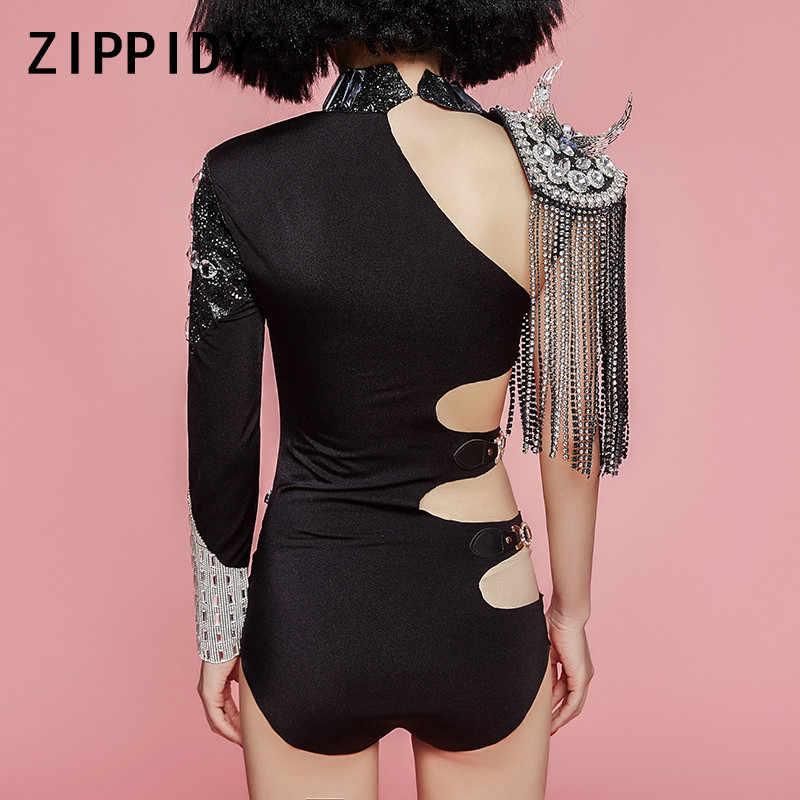 Модные блестящие стразы кисточкой один рукав черный стрейч Hollow уникальный Для женщин Этап одежда танцевальное шоу костюм для ночного клуба